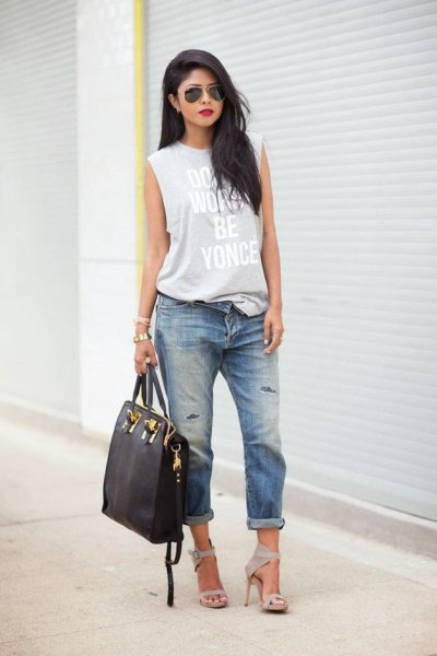 gray printed long tank top with boyfriend jeans with cuffs