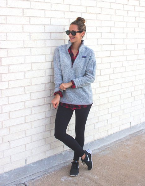 gray sweater with checked boyfriend shirt and black leggings