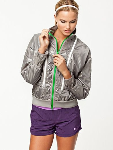 gray quilted nylon jacket with purple sweatpants