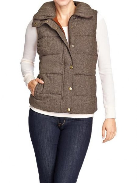 gray quilted tweed vest white skinny fit long sleeve t-shirt