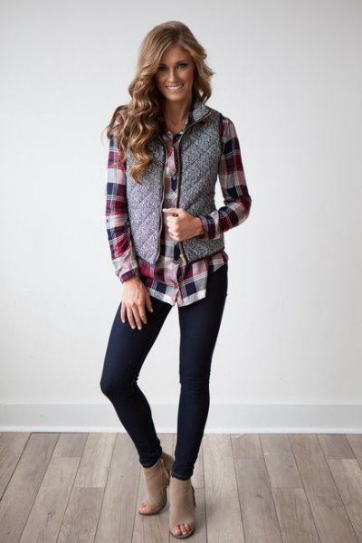 gray quilted vest with black and gray checked boyfriend shirt