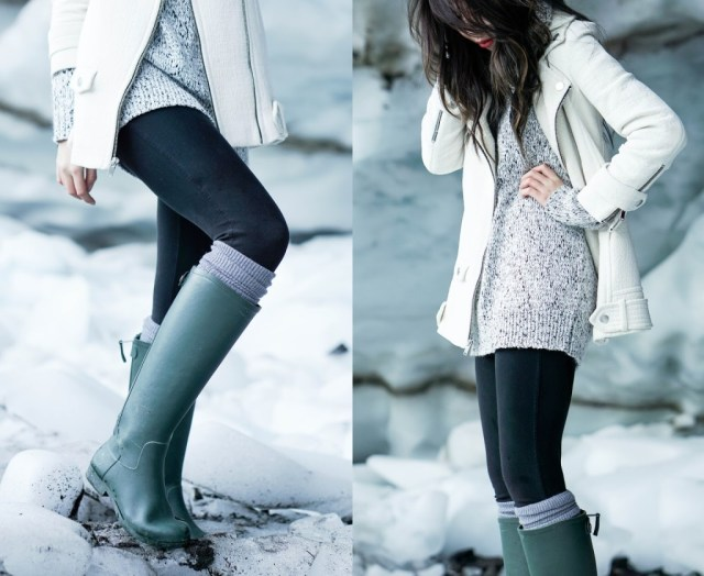 gray rain boots with sweater dress