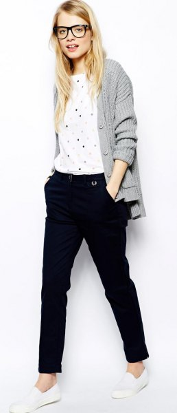 gray ribbed cardigan and white polka dot t-shirt