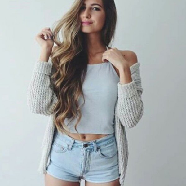 gray ribbed cardigan with white crop top and light blue denim shorts
