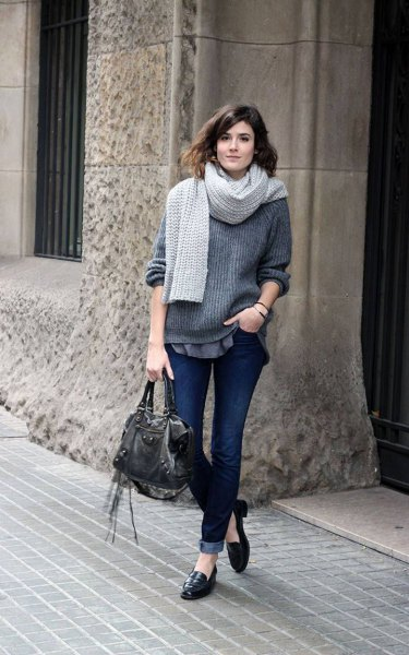 gray, ribbed, chunky knit sweater with scarf and black penny slippers