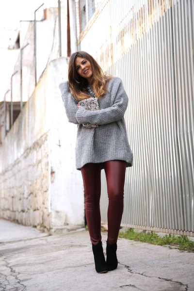 gray, ribbed, thick sweater with burgundy leather gaiters