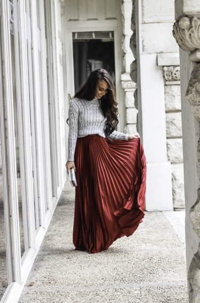 gray ribbed knit sweater with green maxi skirt