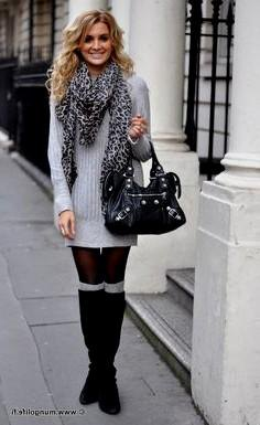 gray, ribbed sweater dress with knitted scarf with leopard print