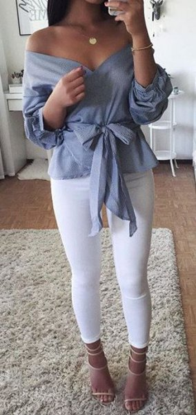 gray tape front of the shoulder blouse with leggings and open toe heels