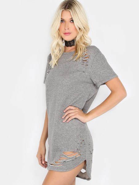 gray ripped mini t-shirt dress with black collar