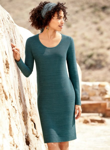 gray, narrow-cut cotton sweater dress with a scoop neckline