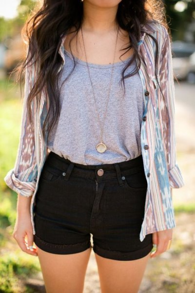 gray scoop neck tank top and blushing pink tie shirt