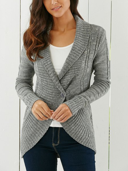 gray cardigan with shawl collar with white t-shirt with scoop neck and dark jeans