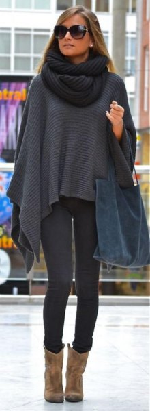 gray scarf with infinity scarf and leggings
