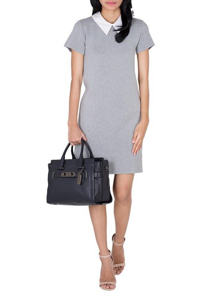 gray shift dress with white collar