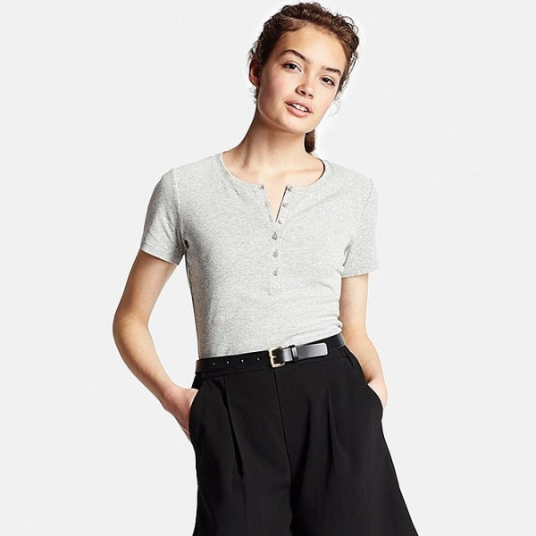 gray short-sleeved henley t-shirt black chinos with wide legs