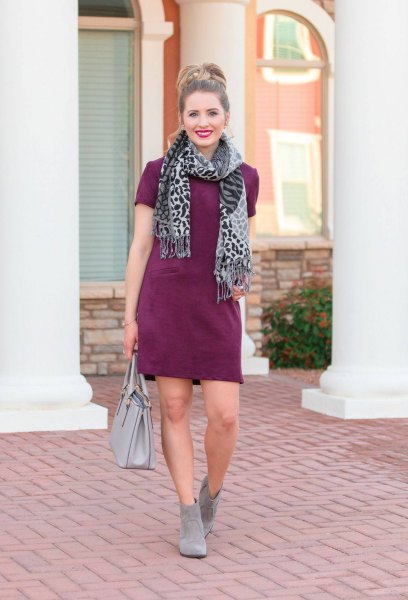 gray short sleeve suede shift dres