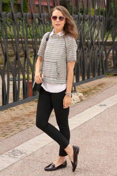 gray short-sleeved sweater with white shirt and black slip-on shoes