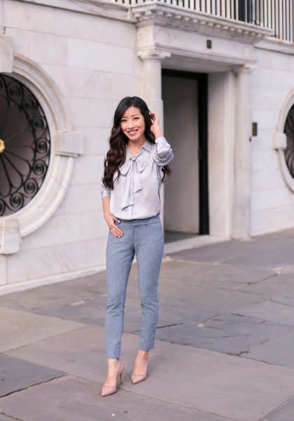 gray silk ribbon bow shirt with blue-green ankle pants