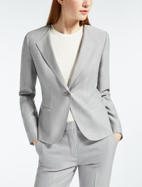 gray silk suit with white cotton long-sleeved T-shirt