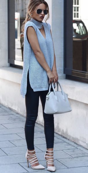gray sleeveless tunic sweater with turtleneck front and boots