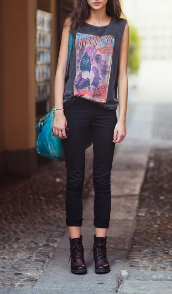 gray sleeveless printed t-shirt black combat boots