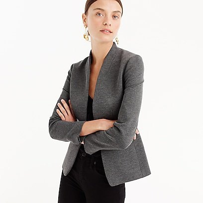 gray slim fit blazer with white tank mini dress with scoop neckline