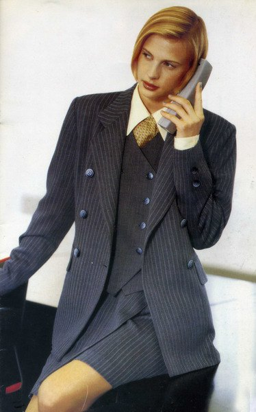gray striped double-breasted suit with shirt and vest
