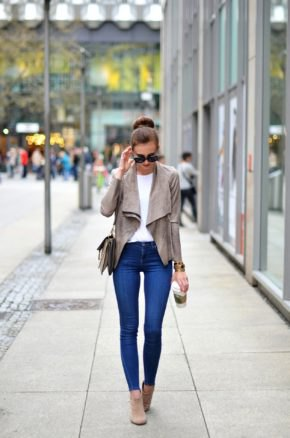 gray suede blazer with blue super skinny jeans