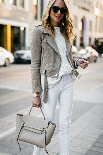 gray suede blazer with white ribbed sweater with relaxed fit