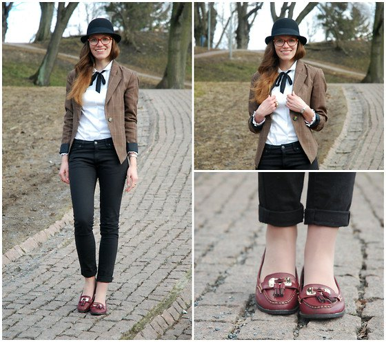 gray suede jacket with white blouse and burgundy-colored slippers