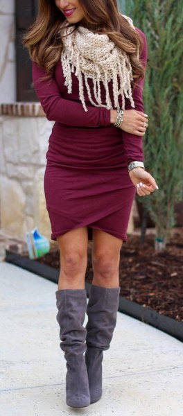 knee-high boots made of gray suede, burgundy, figure-hugging wrap dress
