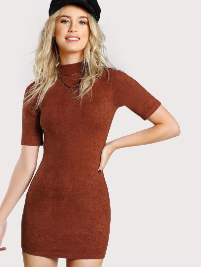 Figure-hugging dress made of gray suede with mock neck