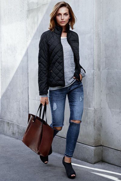 gray sweater black bomber jacket with open toes
