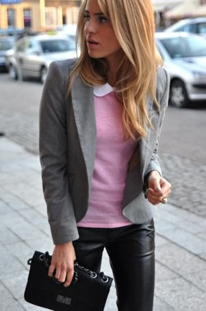 gray sweater black leather pants