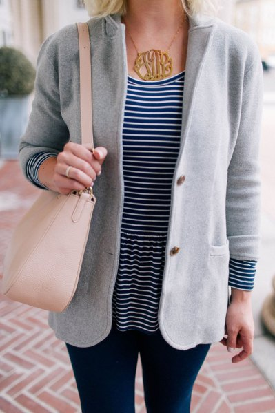gray sweater blazer with black and white striped t-shirt
