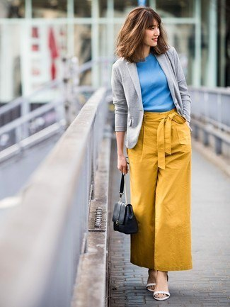 gray pullover blazer with sky blue top and mustard yellow trousers with wide legs