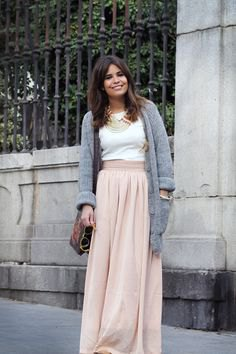 gray cardigan with blushing pink maxi pure skirt