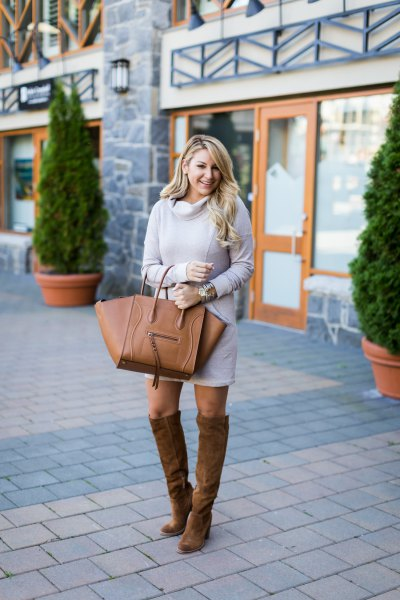 gray sweater dress suede knee high boots