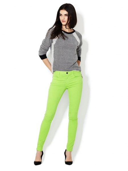 gray sweater lime green skinny jeans