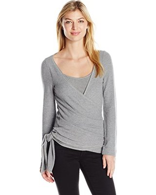 gray sweater over matching vest top