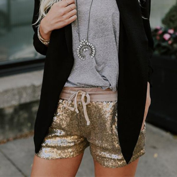 gray sweater with black wool blazer and rose gold sequin mini shorts