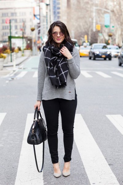 gray sweater with checked scarf and light pink flats