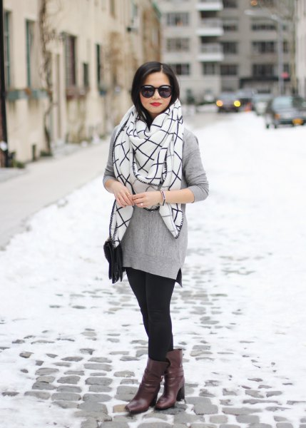 gray sweater with white and black checked scarf