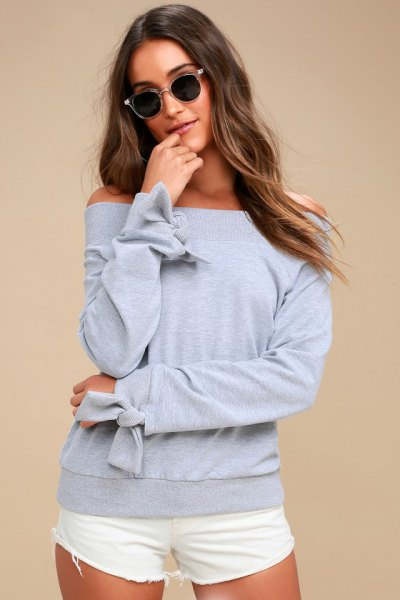 gray sweatshirt ribbon details