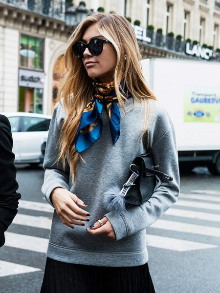 gray sweatshirt with blue satin scarf