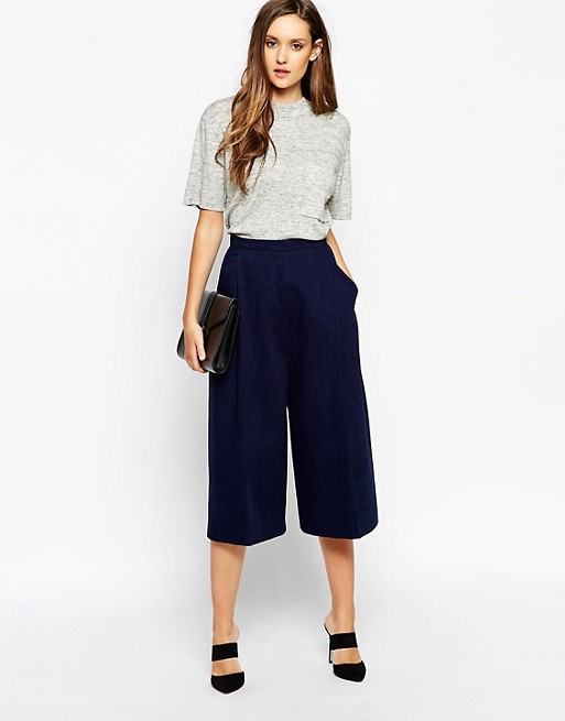 Dark blue, short cut trousers with wide legs