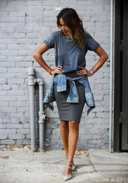gray t-shirt with denim jacket and figure-hugging mini skirt