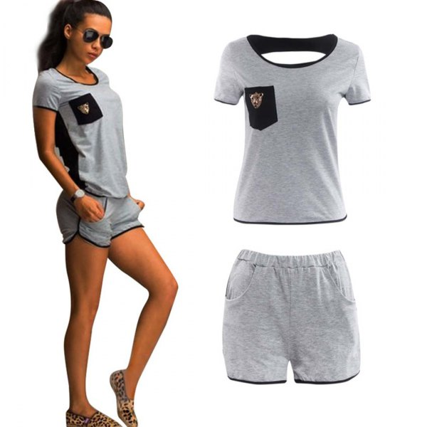 gray t-shirt with mini sweat shorts and slippers with leopard print