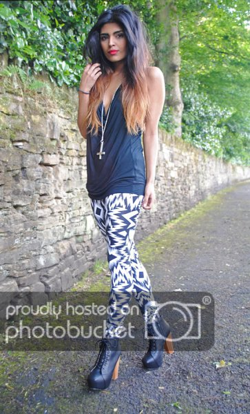 gray tank top with black and white leggings with zigzag print